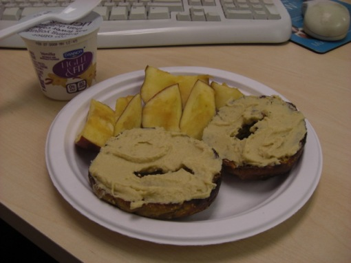 bagel-with-hummus-apple-yogurt