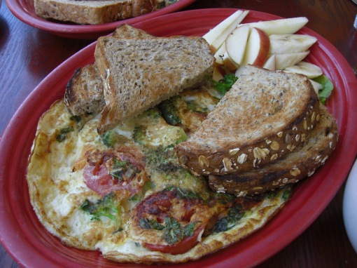 frittata-style egg whites broiled with basil and tomato, apple & banana slices