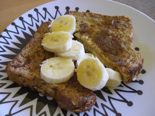 topped with 1/2 banana & 1 tbsp maple syrup